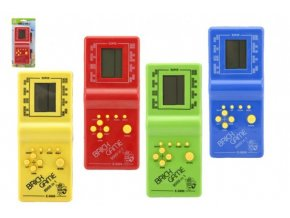 Digitální hra Brick Game Tetris hlavolam plast 18cm na baterie asst 4 barvy na kartě