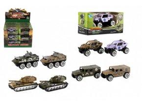 Tank/Auto vojenské/Obrněný transportér kov 7cm asst (1 ks)