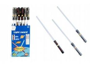 Meč svítící plast 72cm na baterie měnící zvuk dle pohybu se světlem asst 3 barvy (1 ks)