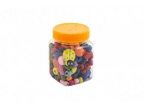 Korálky dřevěné mix barev v plastové dóze 5x9cm
