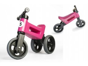 Odrážedlo FUNNY WHEELS Rider Sport růžové 2v1, výška sedla 28/30cm nosnost 25kg 18m+ v sáčku