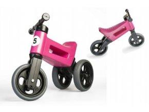 Odrážedlo FUNNY WHEELS Rider Sport růžové 2v1, výška sedla 28/30cm nosnost 50kg 18m+ v sáčku