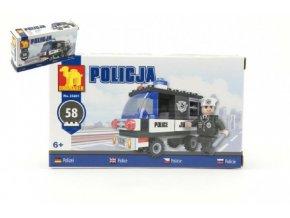 Stavebnice Dromader Policie Auto 23201 58ks v krabičce 17x10x4,5cm