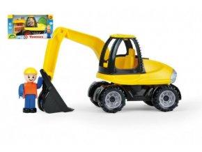 Auto Truckies bagr plast 25cm s figurkou v krabici 24m+