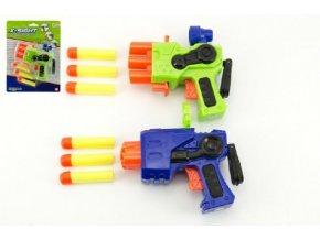 Pistole na pěnové náboje plast 14cm asst 2 barvy na kartě