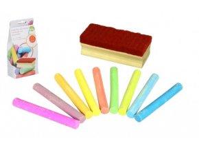 Křídy barevné na tabuli 12 ks + houbička v krabičce 9x19x5cm