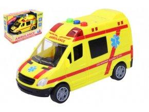 Auto ambulance záchranáři plast 14,5cm na baterie se světlem a zvukem v krabici 18,5x12,5x9cm
