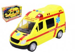 Auto ambulance záchranáři plast 21cm na baterie se světlem a zvukem v krabici 25x17x12cm