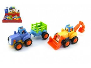 Traktor/Buldozer plast 15cm pro nejmenší asst 2 druhy na setrvačník (1 ks)