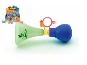 Klakson trumpeta na kolo plast 14cm asst 3 barvy (1 ks)