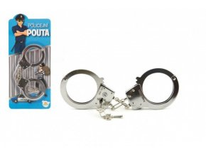 Pouta policejní kov 17cm s klíčem na kartě