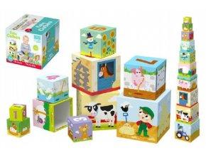 Kostky kubus Na farmě 10ks v krabici 15x15cm 1+