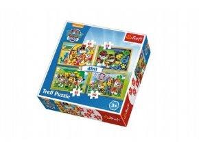 Puzzle 4v1 Tlapková Patrola/Tlapková Patrola v krabici 28x28x6cm