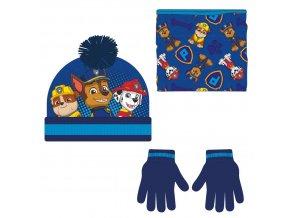 zimní set-čepice, nákrčník, rukavice Tlapková Patrola