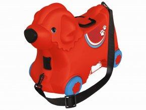 Kufřík odstrkovadlo pejsek červený s kolečky