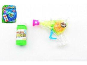 Pistole bublifuk plast 13cm na setrvačník asst 2 barvy na kartě