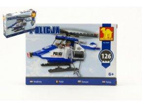 Stavebnice Dromader Policie Vrtulník 23401 126ks v krabici 22x15x4,5cm
