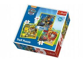 Puzzle 3v1 Tlapková Patrola/Tlapková patrola 20x19,5cm v krabici 28x28x6cm