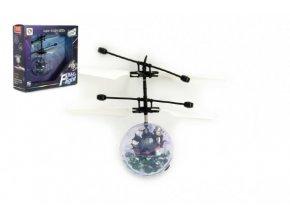 Vrtulníková koule létající plast 13x11cm s USB kabelem na nabíjení v krabičce SKLADEM