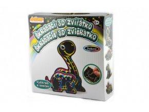 Škrabací 3D obrázek duhový dinosaurus 12x9cm v krabičce 15x15x4cm