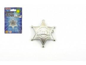 Šerifská hvězda odznak kovový 5cm na kartě karneval