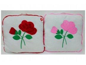 Polštář s růžemi plyš 40x40cm asst 2 barvy