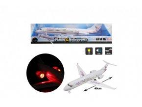 Letadlo plast 43cm na setrvačník na baterie se zvukem a světlem v blistru