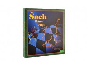 Šachy+dáma+mlýn společenská hra v krabici 22x23x2cm SK verze