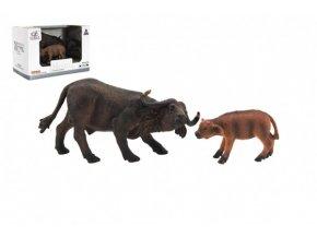 Zvířátka safari ZOO 12cm buvol plast 2ks v krabičce 16x11x9,5cm