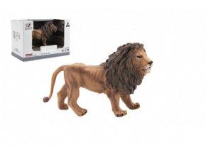 Zvířátka safari ZOO 13cm lev plast 1ks v krabičce 16x11x9,5cm