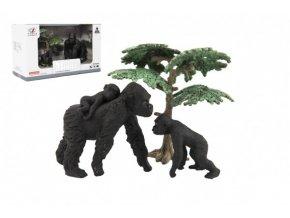 Zvířátka safari ZOO 8cm sada plast 3ks gorila 2 druhy v krabičce 22x13x9,5cm