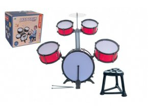 Bicí souprava/bubny plast 5ks s příslušenstvím v krabici 42x40x32cm