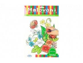 Malování zahrada omalovánky 12ks A4 s barvami a se štětcem na kartě