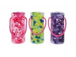 Korálky plast se šňůrkou asst 4 barvy v plastové doze 4,5x11cm (1 ks)