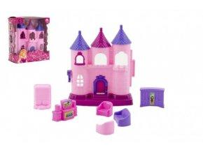 Mini domeček/hrad plast 11cm s doplňky v krabičce 12x14x6cm