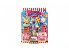 Prodejna sladkostí s doplňky plast na kartě 21x28x6cm