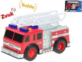 Auto hasici 18cm na setrvacnik na baterie se svetlem a zvukem v krabicce