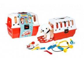 Zvířátko pejsek plyš v přenosném boxu + doktorská sada veterinář