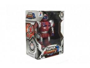 Robot bojovník chodící plast 23cm na baterie se světlem se zvukem v krabici 22x30x13cm