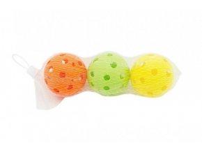 Míček floorbalový 7cm plast 3ks v 3 barvy v síťce
