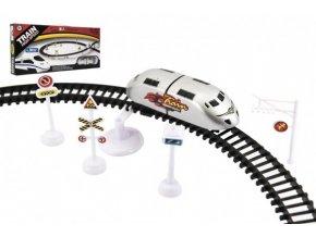 Vlak plast s kolejemi 370cm s doplňky na baterie v krabici 44,5x20x5cm