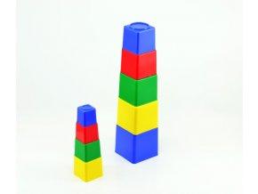 Kubus pyramida skládanka hranatá plast mix z 4 barvy 9ks v sáčku 9x9x9cm 12m+