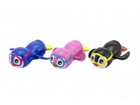 Tučňák do vany plavající plast 12cm na natažení 3 barvy (1 ks)
