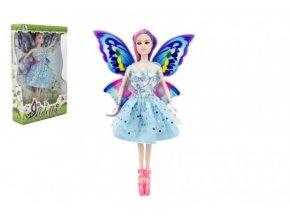 Panenka víla s křídly plast 30cm modré šaty