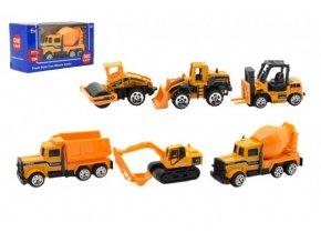 Auto stavební kov/plast 8cm na volný chod mix druhů v krabičce 12x6xx5cm (1 ks)