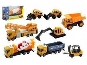 Stavební stroje kov/plast 10-12cm mix druhů v krabičce 16x10x6cm (1 ks)