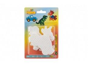 Podložka na zažehlovací korálky Hama auto,papoušek,dinosaurus plast 3ks na kartě 12x18x3cm