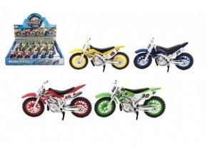 Motorka cross plast 12cm volný chod 4 barvy (1 ks)
