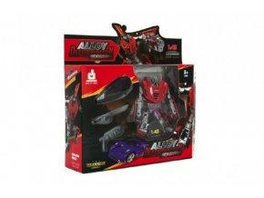 Transformer auto/robot plast/kov s doplňky 10cm 6 barev v krabici 23x22x6cm