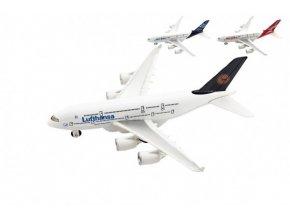 Letadlo kov/plast 22cm na volný chod 3 druhy (1 ks)
